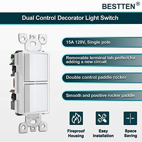 [2 Pack] BESTTEN Double ON/Off Rocker Light Switch with Screwless Wallplate, 15A/120V Single Pole Combination Interrupter, UL/cUL Listed, White