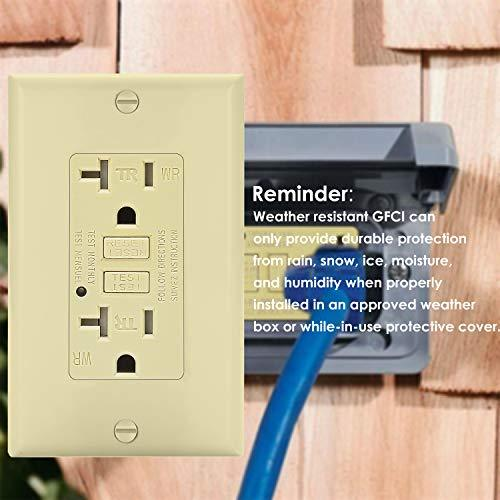 [2 Pack] BESTTEN 20A Self-Test GFCI Outlet, Weather-Resistant and Tamper-Resistant Receptacle with LED Indicator, Wall Plate Included, Ground Fault Circuit Interrupter, ETL/cETL Certified, Ivory