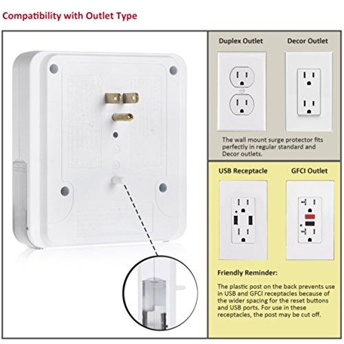 BESTTEN Wall Mount Surge Protector with 4 USB Charging Ports, 3 Electrical Outlets and 2 Slide-Out Phone Holders, 15A/125V/1875W, ETL/cETL Certified, White
