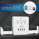 [2 Pack] BESTTEN 4.2A USB Wall Outlet Surge Protector, 4 USB Charging Ports, 3 AC Outlets with 2 Slide-Out Phone Holders, ETL/cETL Certified, White