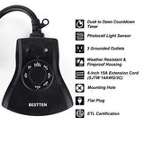 BESTTEN Outdoor Timer with Photocell Light Sensor and 3 Grounded Outlets, Dusk to Dawn and Countdown Timer, Weatherproof Plug in Switch for Holiday Decoration, Christmas Lights and Outdoor Lighting