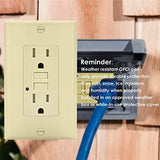 BESTTEN 15A Self-Test GFCI Outlet, Weather-Resistant and Tamper-Resistant Receptacle with LED Indicator, Ground Fault Circuit Interrupter, Wall Plate Included, ETL/cETL Certified, Ivory
