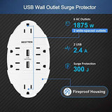 [2 Pack] BESTTEN 6-Outlet Surge Protector with 2 USB Charging Ports (2.4A/Port, 3.1A Shared), Wide-Spaced Wall Tap Adapter, ETL/cETL Certified, White