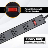 BESTTEN Wide-Spaced 12-Outlet Heavy Duty Metal Power Strip, 12ft Long Extension Cord, 15A/125V/1875W, On/Off Switch with Circuit Breaker, UL Listed, Black