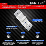 [10 Pack] BESTTEN Motion Sensor Light Switch, Single Pole PIR Sensor Wall Switch, Occupancy & Vacancy Modes, 120V/277VAC, 60Hz, 1/6HP, Neutral Wire Required, Wall Plate Included, UL Listed, White