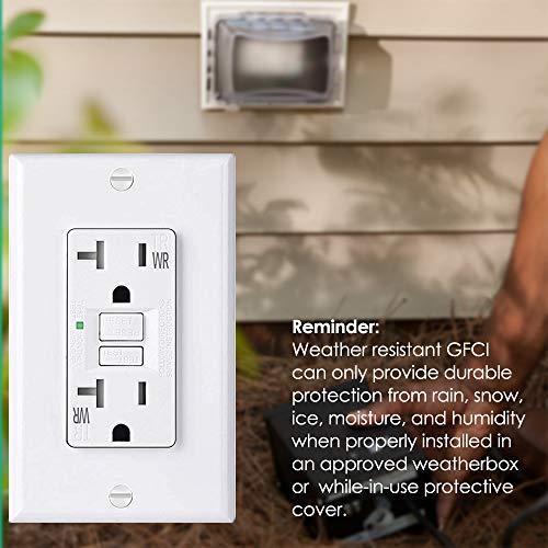 BESTTEN 20A Self-Test WR GFCI, USG5 Slim Series, Weather-Resistant and Tamper-Resistant (TR), GFI Receptacle Outlet with LED Indicator, Wall Plate Included, White