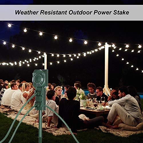BESTTEN Power Stake with Optional Countdown Timer, Outdoor Power Strip with 12-Foot Long Extension Cord and 3 Grounded Outlets, Dusk to Dawn Light Sensor, Weatherproof Design, cETL Listed
