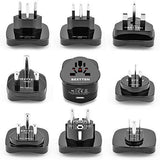 BESTTEN International Travel Adapter Set, Power Plug Kit with 2.1A USB Charging Port (Supporting US, UK, Europe, China, Australia, New Zealand, South Africa, India, Italy), Universal 9-Pc Pack, Black