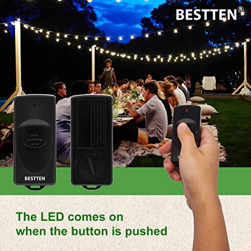BESTTEN Remote Control Outdoor Outlet Switch with 6-Inch Heavy Duty Power Cord, 15A/125V/1875W, ETL and FCC Certified