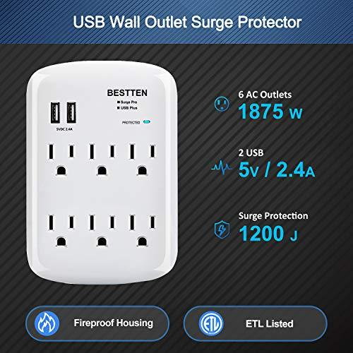 BESTTEN 1200-Joule Wall Surge Protector, 6-Outlet Extender with 2 USB Charging Ports (2.4A), 15A/125V/1875W, ETL/cETL Certified, White