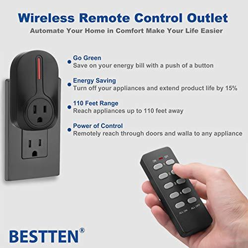 BESTTEN Wireless Remote Control Outlet Switch Set (2 Outlets, 1 Remote) with 110 Foot Range, Learning Code, Home Automation Set, cETL Listed, Black