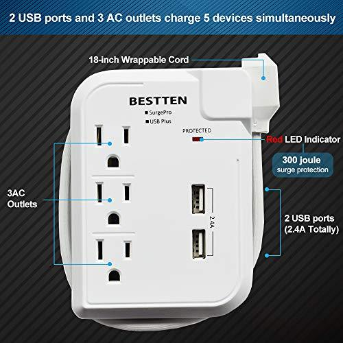 BESTTEN Mini Travel Power Strip Surge Protector with 2 USB Charging Ports and 3 AC Outlets, Black