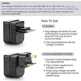 BESTTEN 1875W Voltage Converter Transformer (220V to 110V) and Travel Plug Adapter for UK/AU/US/EU/Asia, Gfit Pouch Included, CE and RoHS Certified, Black