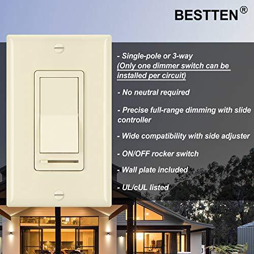 [2 Pack] BESTTEN Dimmer Wall Light Switch, Single-Pole or 3-Way, Compatible with Dimmable LED, Incandescent, Halogen and CFL Bulbs, Wall Plate Included, UL Listed, Almond