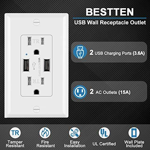 [5 Pack] BESTTEN USB Receptacle, 3.6A Dual USB Charging Ports with 2 TR Outlets, 15A/125V/1875W, Decorator Wall Plate Included, UL Listed