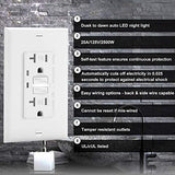 BESTTEN Self-Test GFCI Receptacle Outlet with Auto LED Guide Light, Tamper Resistant Receptacle, 20A/125V/2500W, Wall Plate Included, ETL Certified, White