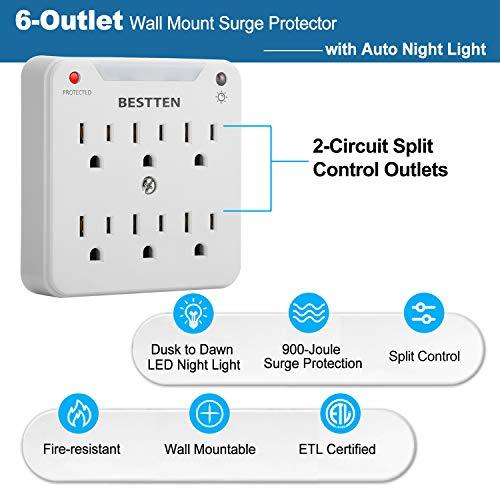 [2 Pack] BESTTEN 900-Joule Wall Mount Surge Protector, 6-Outlet Extender with Auto LED Night Light, Dusk to Dawn Photocell Sensor, ETL Certified, White