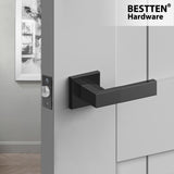 [3 Pack] BESTTEN Passage Door Lever, Heavy Duty Square Door Handle Set, Commercial and Residential, No Lock, Monaco Series, Matte Black