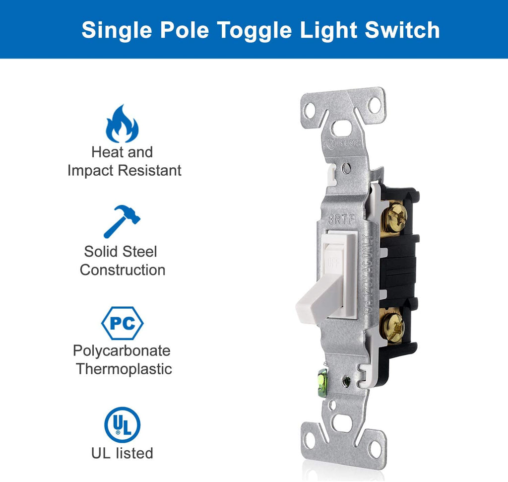 [10 Pack] BESTTEN Single-Pole Toggle Light Switch, 15A, 120V, for Commercial and Residential Use, UL Listed, White