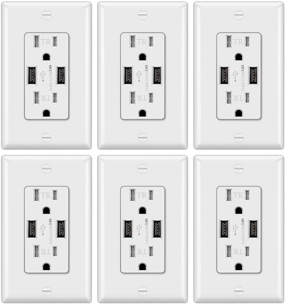 [6 Pack] BESTTEN USB Receptacle Outlet, 3.6A Dual USB Wall Charger, 15A TR Outlets, Decorator Wall Plate Included, UL Listed, White