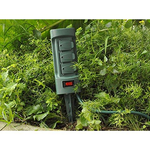 BESTTEN 6-Outlet Outdoor Power Stake with 9-Foot Long Extension Cord, Overload Protection Switch and Individual Protective Covers, Double Sided Design, cETL Listed, Green