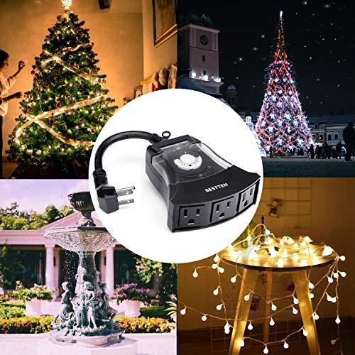 BESTTEN Outdoor 24-Hour Timer, 3 Grounded Outlets, 6-Inch Power Cord, Flat Plug, Heavy Duty, Weatherproof, Ideal for Halloween, Thanksgiving, Christmas and Other Holiday Decorations, ETL Certified