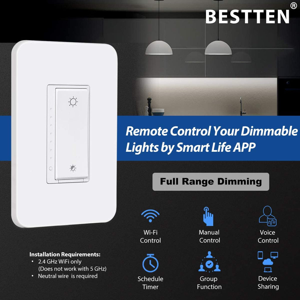 [4 Pack] BESTTEN WiFi Dimmer Switch, Smart Light Switch for LED Dimmable Lights, Remote Control and Timer Functions, Compatible with Alexa/Google Assistant/IFTTT, ETL & FCC Approved