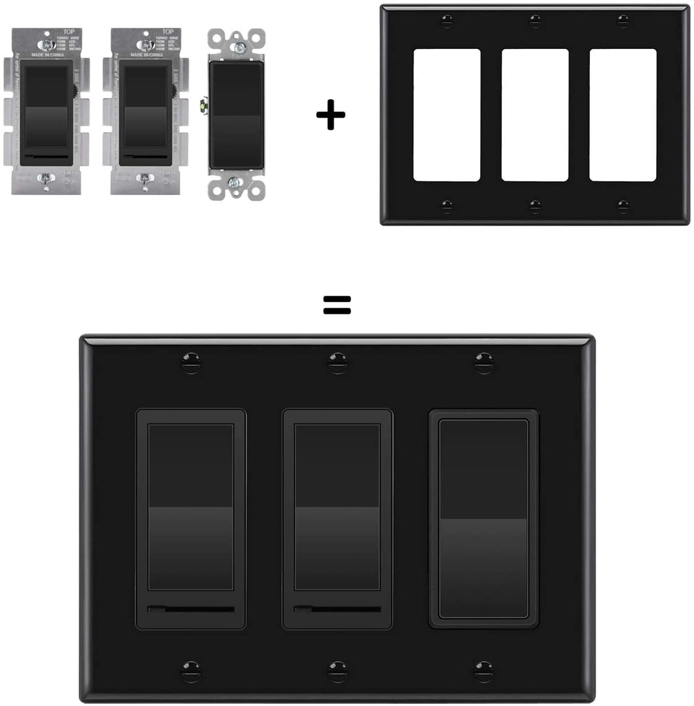 [2 Pack] BESTTEN 3 Gang Decorator/GFCI Device Wall Plate, Standard Size, Unbreakable Polycarbonate Outlet and Switch Cover, Device Mount, UL Listed, Black
