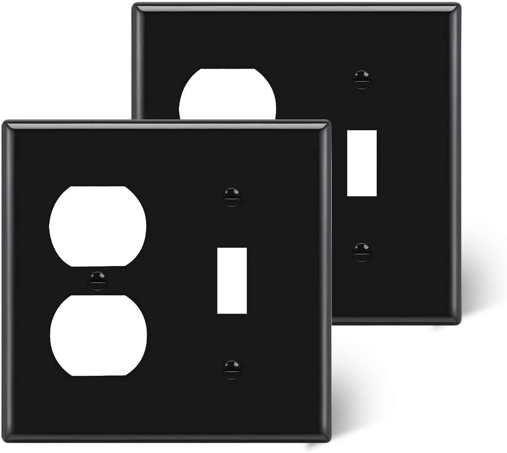 [2 Pack] BESTTEN 2-Gang Combination Wall Plate, 1-Duplex/1-Toggle, Standard Size H4.53 inchx W4.57 inchx D0.25 inch Unbreakable Polycarbonate Outlet and Switch Cover, cUL Listed, Black