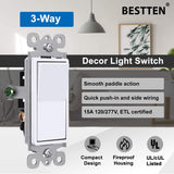 [10 Pack] BESTTEN 3-Way Decorator Wall Light Switch, 15A/120V, On/Off Rocker Interrupter, cETL Listed, Snow White