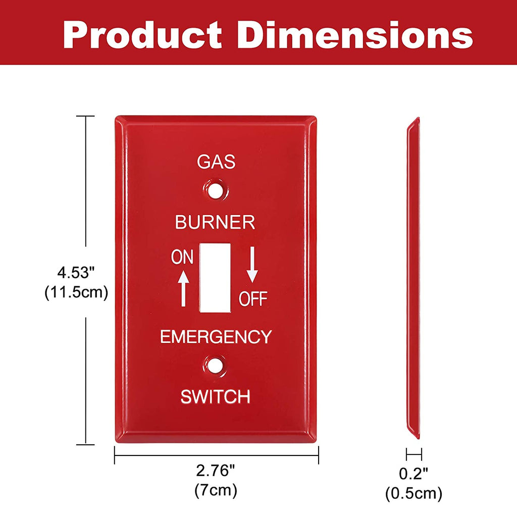 [2 Pack] BESTTEN 1-Gang Red, Emergency Gas Shut-Off Toggle Switch Metal Wall Plate, Standard Size, UL Listed, Code Compliant