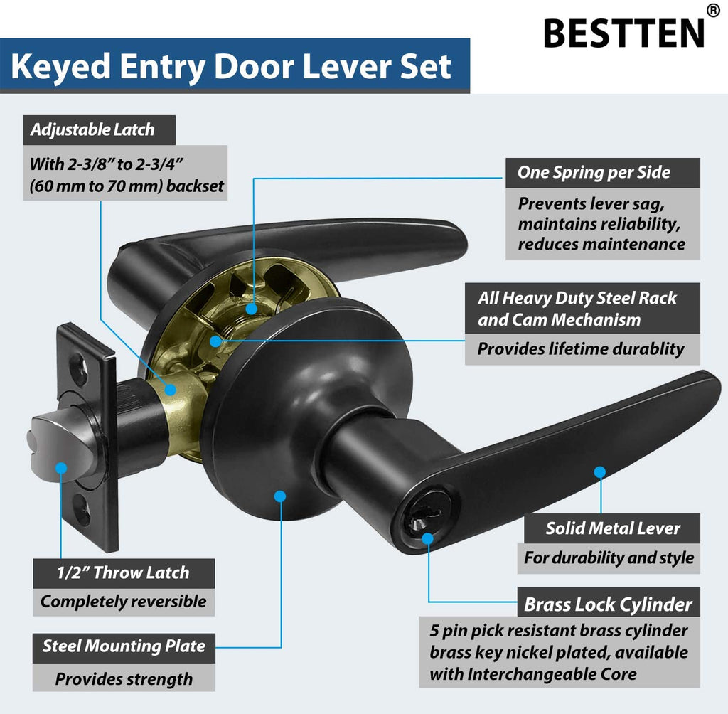 [5 Pack] BESTTEN Entry Door Lever Set with Lock, Roma Series, Keyed Different, Matte Black