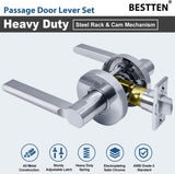 BESTTEN Passage Door Lever Set, No Lock, Vienna Series, Satin Chrome
