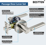 [3 Pack] BESTTEN Passage Door Lever Set, No Lock, Vienna Series, Satin Nickel
