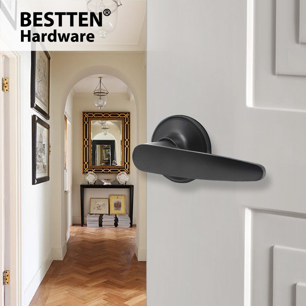 BESTTEN Passage Door Lever Set, No Lock Door Handle for Hallway or Closet, Satin Nickel