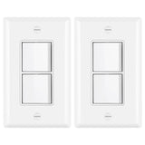 2/5/10 Pack - BESTTEN Double ON/OFF Rocker Light Switch, Single Pole Combination Interrupter, 15A 120V, Dual Control Paddle Rocker, Wall Plate Included, White