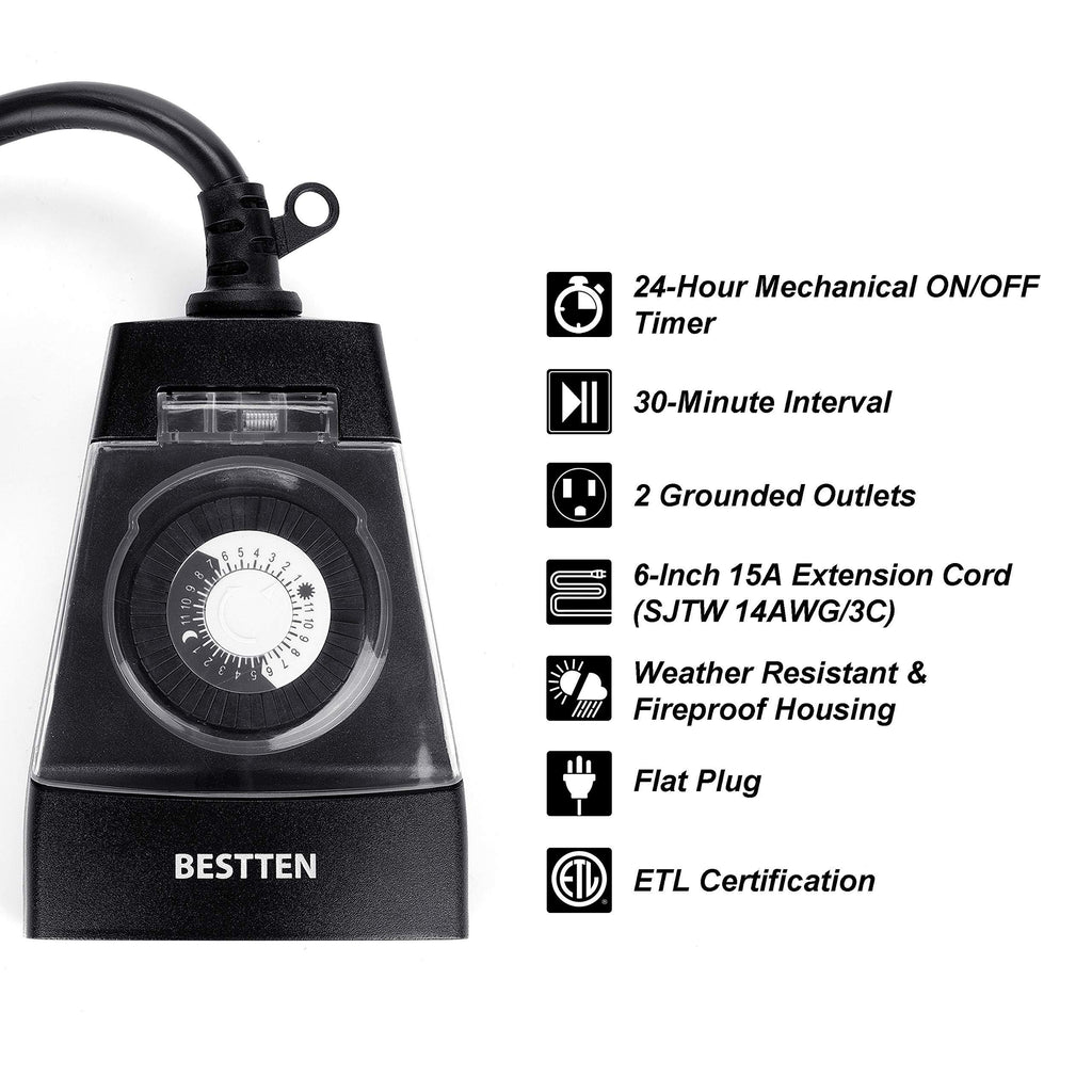 BESTTEN Outdoor Weatherproof Outlet with 24-Hour Mechanical Timer, 2 Grounded Heavy Duty Outlets with 6-Inch Cord and Flat Plug, ETL/cETL Certified, Black