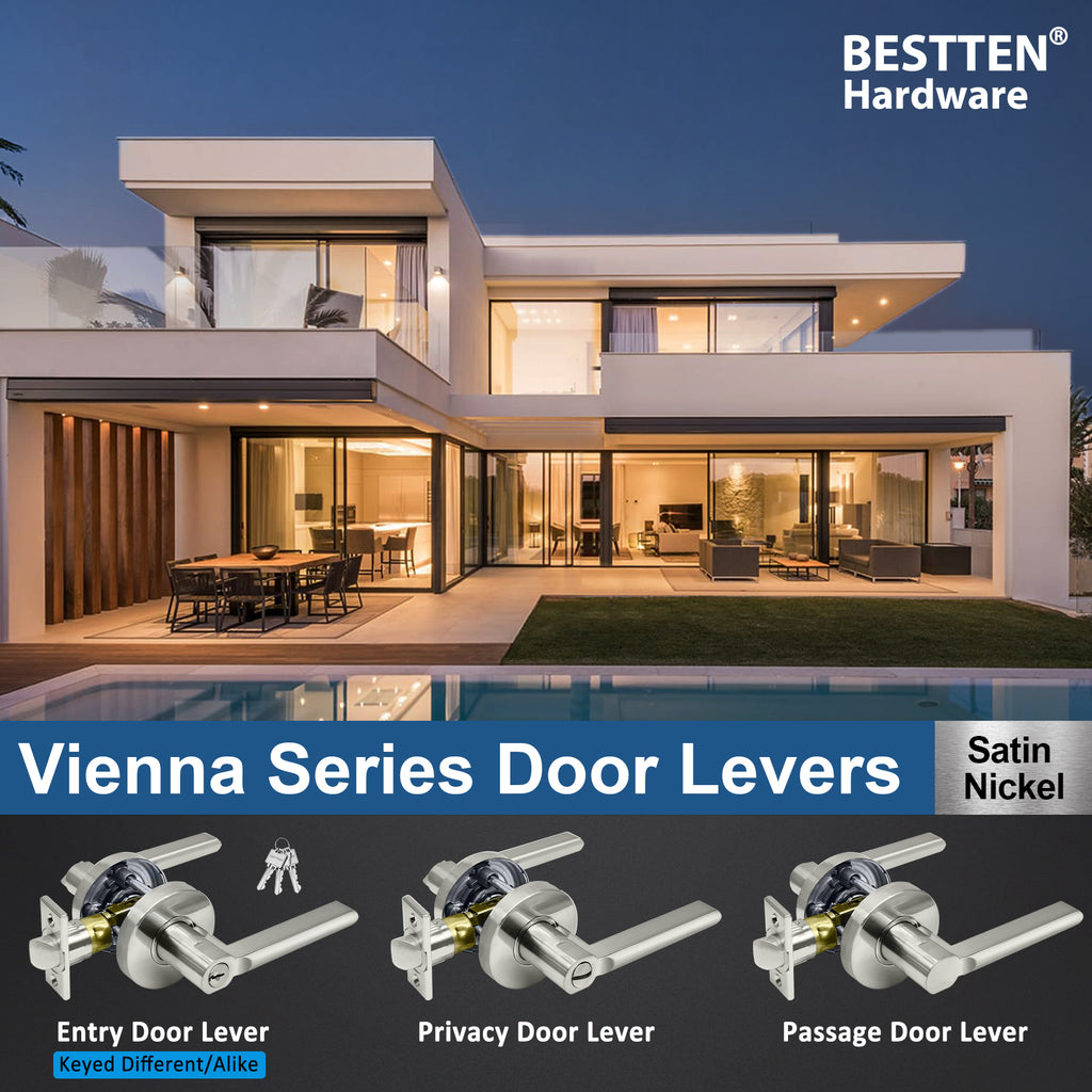[10 Pack] BESTTEN Entry Door Lever Set with Lock and Key, Heavy Duty Door Handle Lock for Exterior and Interior, Vienna Series, Keyed Different, Satin Nickel