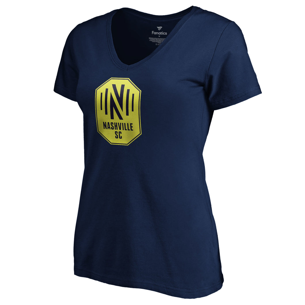 NSC Women's Fanatics Primary Logo Tri-Blend V-Neck SS Tee - Nvy