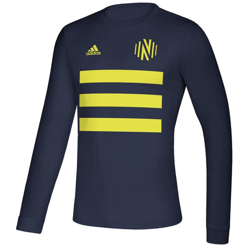 NSC Men's Adidas 2021 3SL Pitch Creator LS Tee- Nvy