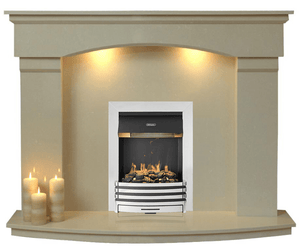 Electri Fireplace Cambridge marble fireplace with Silver Optimist  Electric Fire E2 Package - bespokemarblefireplaces