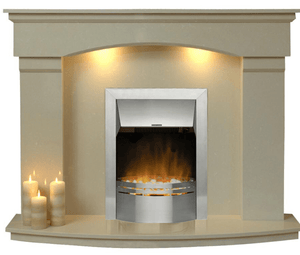 Electric Fireplace Cambridge with  E1 Electric Silver Fire Package - bespokemarblefireplaces