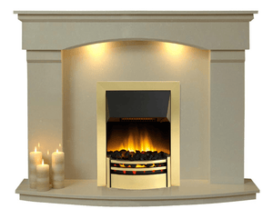 Marble Fireplace Cambridge Surround with Dimplex Brass Electric Fire E3 Package - bespokemarblefireplaces