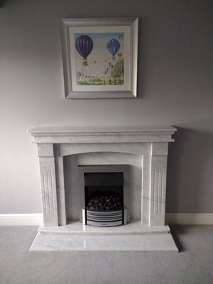 Carrara Gioia Natural Marble Sheridan Fireplace with Gas Fire - bespokemarblefireplaces