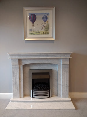 Carrara Gioia Natural Marble Sheridan Fireplace - bespokemarblefireplaces