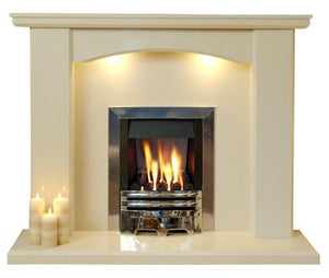 Marble Fireplace Charrington Surround with Lights and Gas Fire- bespokemarblefireplaces