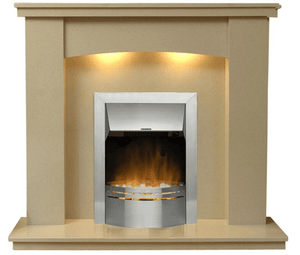Electric Fireplace Dorchester  Marble Surround with  Silver Dimplex Electric  Fire E1 Package - bespokemarblefireplaces