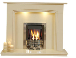 Marble Gas Fireplace Ashbourne with Chrome Gas Fire G2 Package - bespokemarblefireplaces