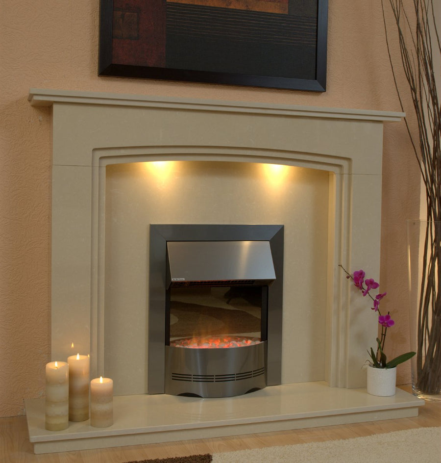 Natural Marble or Limestone Ashbourne Fireplace Hearth & Back Panel