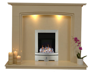Marble Gas Fireplace Ashbourne with Brushed Steel Gas Fire G1 Package - bespokemarblefireplaces